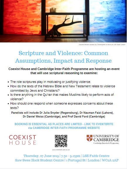Cambridge Inter-Faith Programme 'Scripture & Violence' Event at LSE Faith Centre, 2019's image